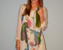 vestido seda manga larga