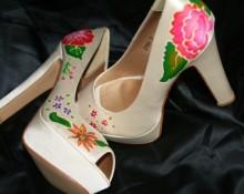 zapatos crudo de seda pintados amano