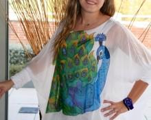blusa vestido pavo real