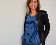 blusa de seda azul Marsilka