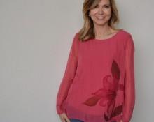 blusa de seda coral Marsilka
