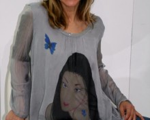 blusa de seda gris Marsilka