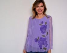 blusa de seda violeta Marsilka